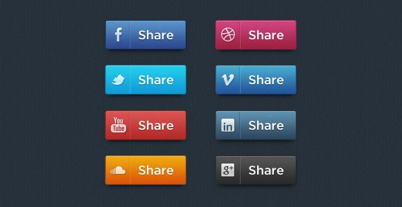 Social share PSD buttons