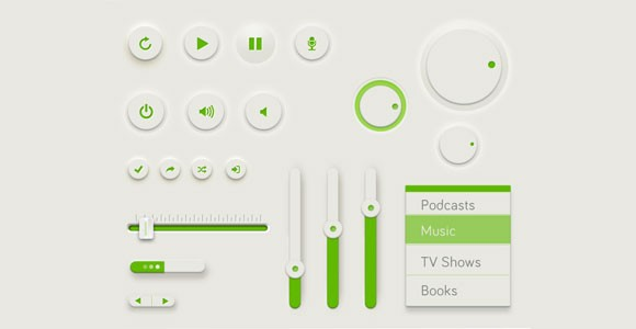 Green UI kit free PSD