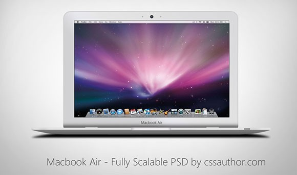Macbook Air - Fully scalable PSD mockup