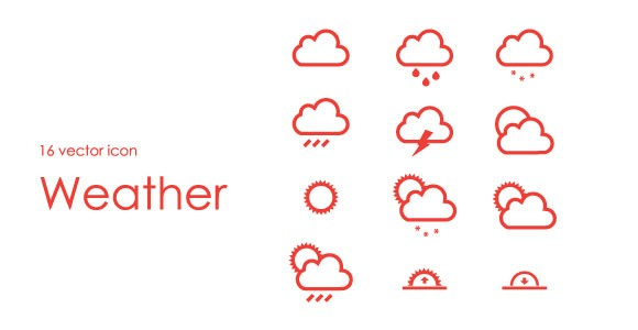 16 free PSD weather icons