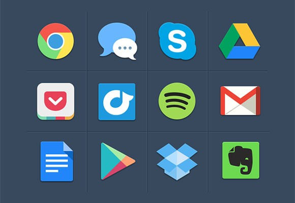 Some colorful flat icons PSD