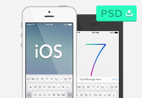 iOS7 & semi-flat iPhone 5 mockup