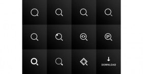 11 search icons PSD