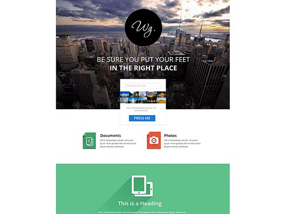 Single page website template