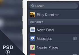 Facebook iOS Menu