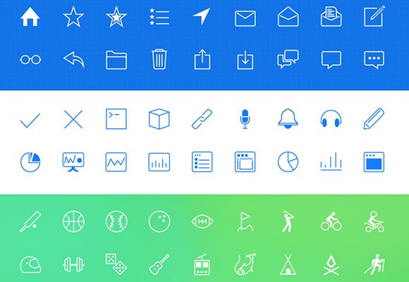 378 PNG line icons for iOS
