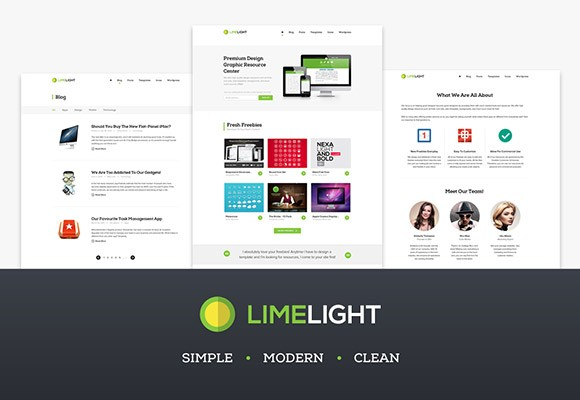Limelight - Free PSD web template