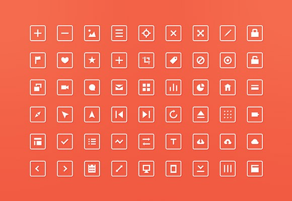 54 free PSD squared icons