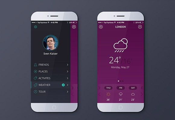 Free weather app PSD