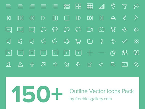 150+ outline vector icons EPS + PNG