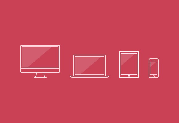 Outline device icons PSD