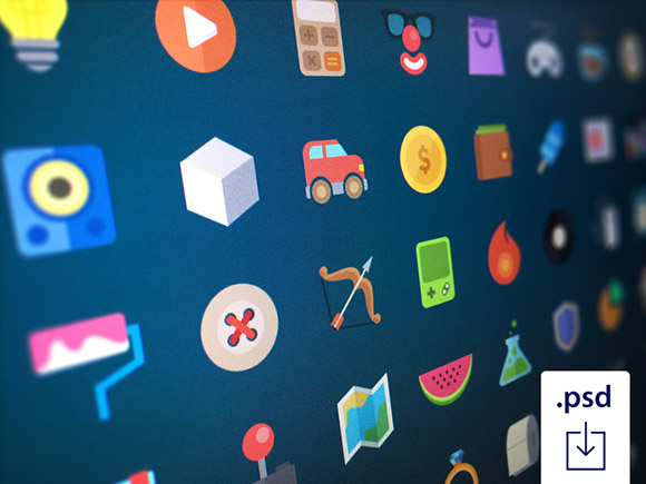 48 free flat icons PSD