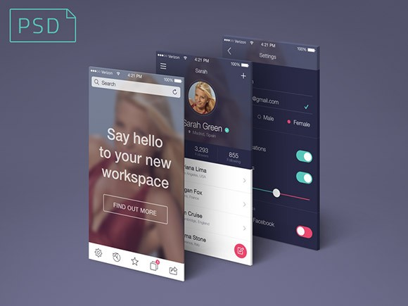 App screens perspective PSD mockup