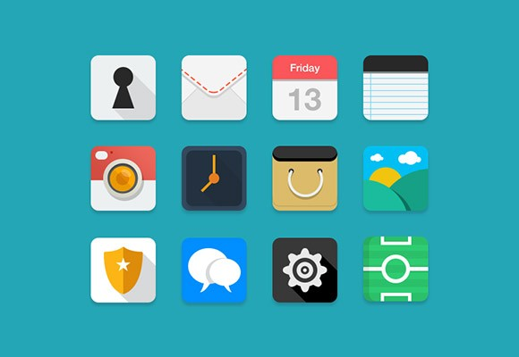 12 flat & coloured PSD icons