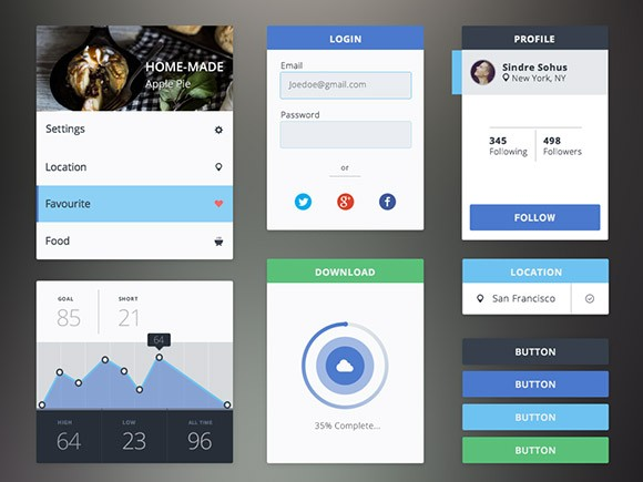 Free PSD flat UI kit download