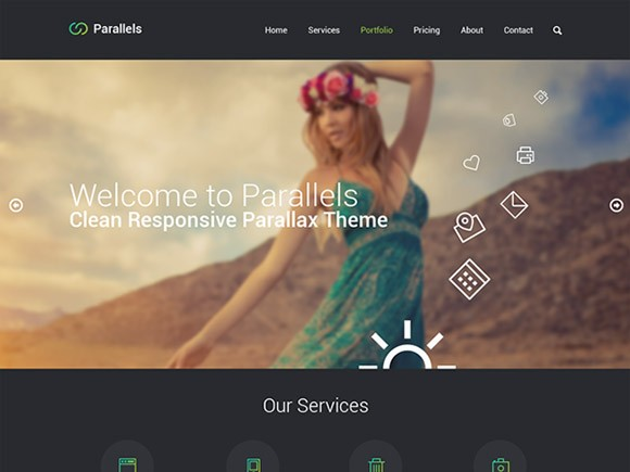 Parallels - One-page PSD template