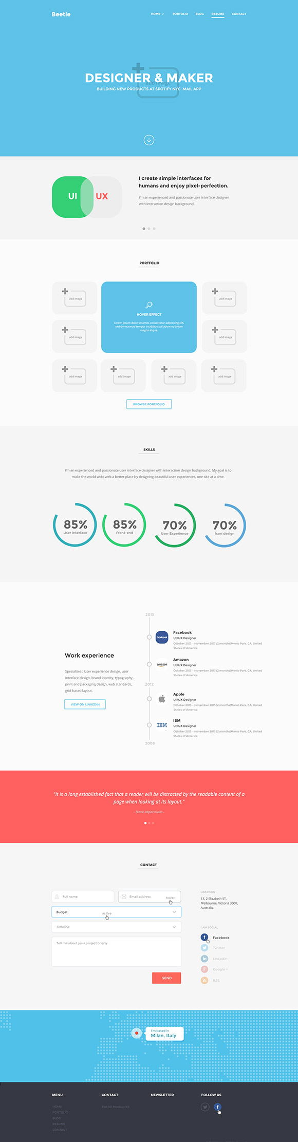 Resume page template PSD detailed view