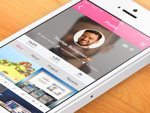 8 dribbble app screens PSD
