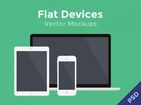 Flat devices mockups PSD