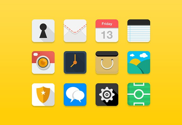 12 flat icons PSD
