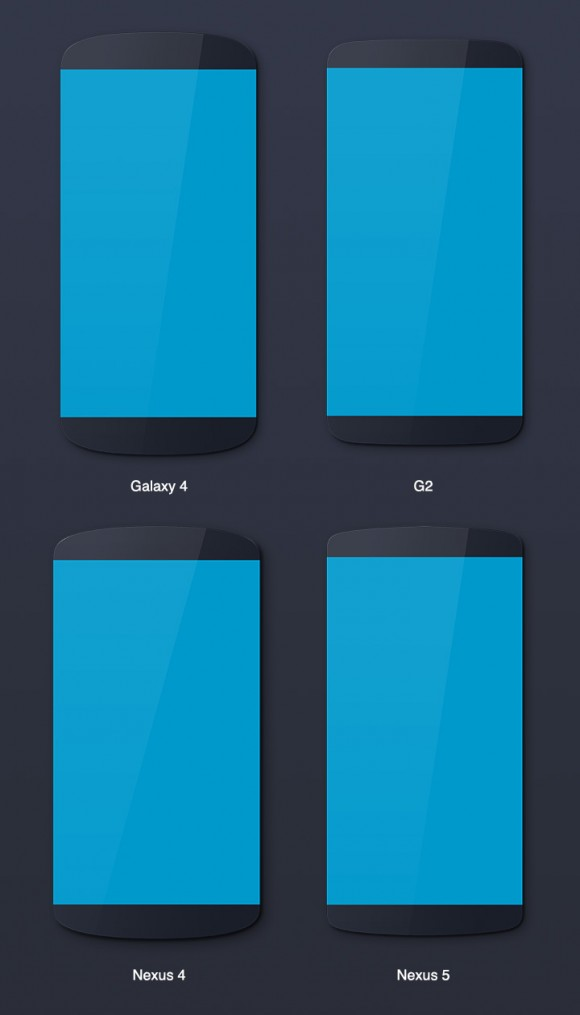 Android mockups psd detailed view