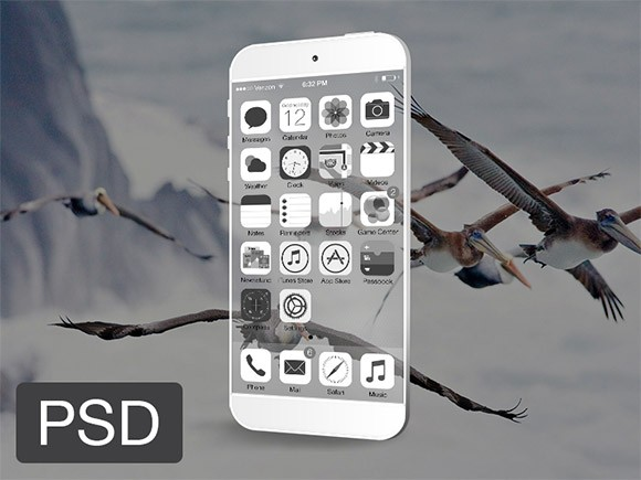 Transparent iPhone mockup PSD