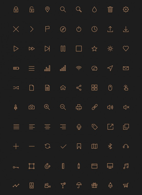 80 stroke icons - PSD + AI + Webfont Detailed image