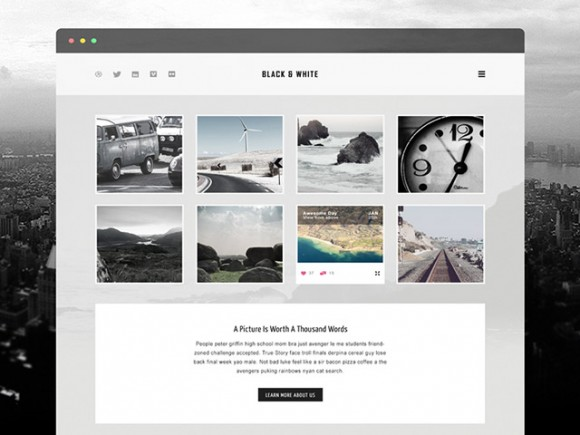 Black & white - Free PSD template