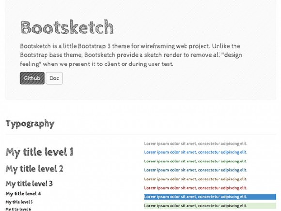 Bootsketch - Bootstrap theme for wireframing