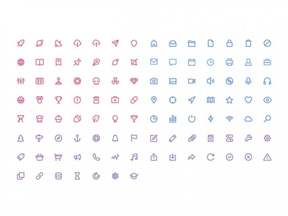 105 stroke icons in 3 volumes