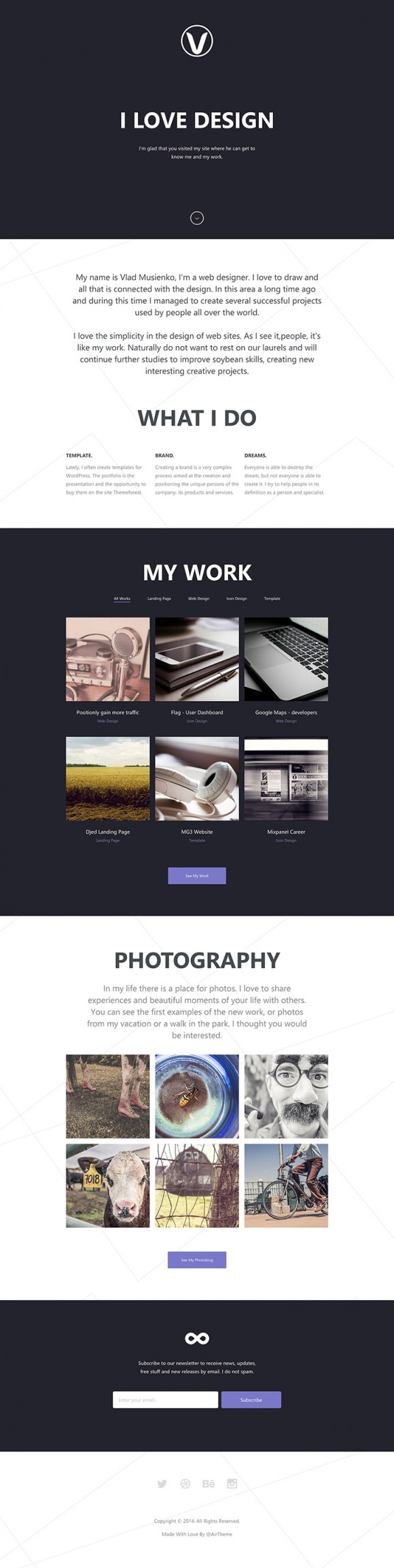 Lithium - HTML5 Responsive one page template full page
