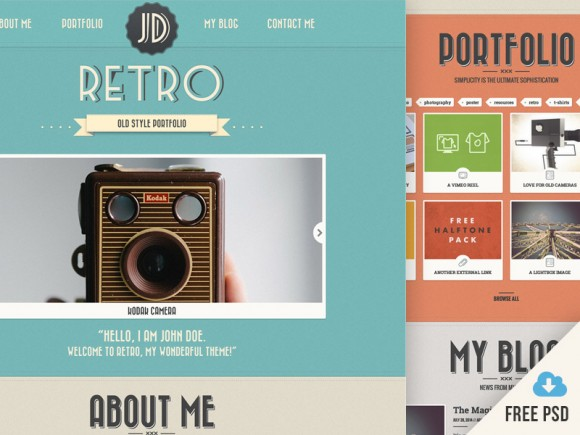 New Retro Portfolio [v4] - Free PSD Featured