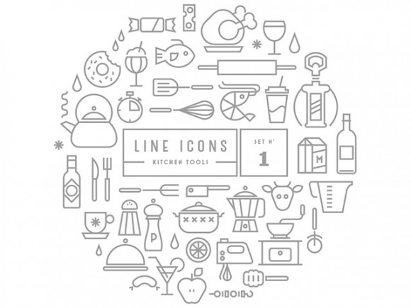 Gravual line icons - Set 1- Kitchen