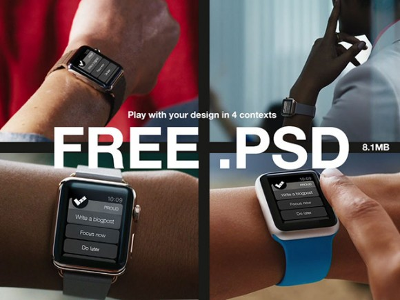 4 Apple Watch mockups PSD