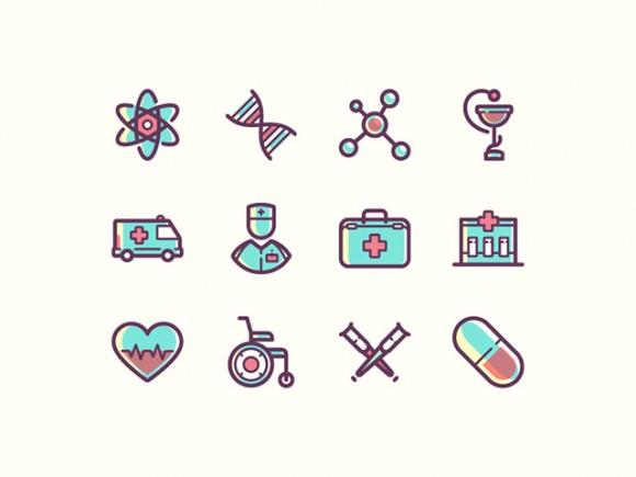 12 medical icons - PSD