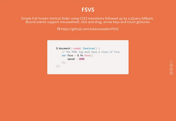 Full screen vertical scroll - jQuery
