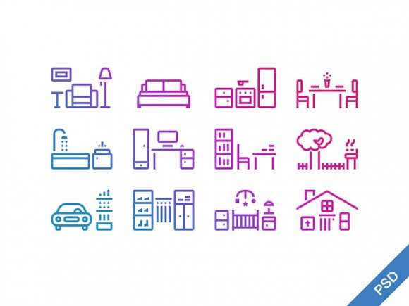 12 outline house icons