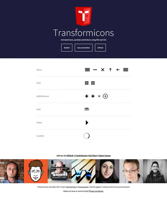 Transformicons landing page