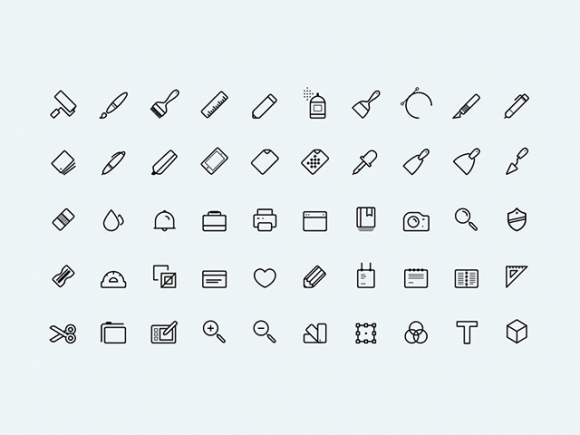 50 art icons PSD