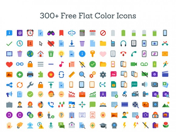 300+ flat color icons SVG