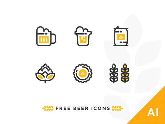 6 outline beer icons - Free Ai