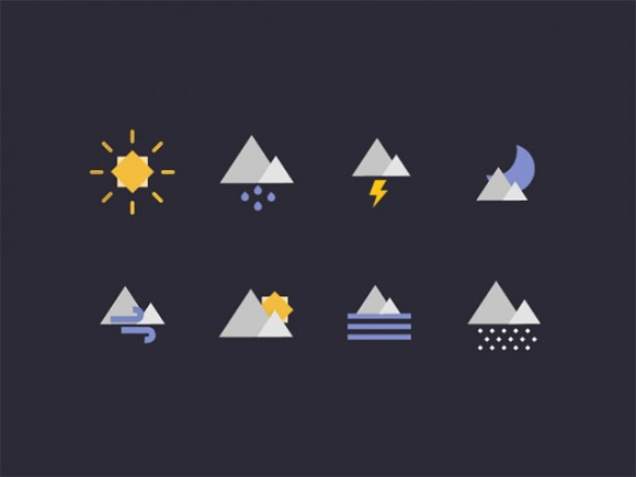 Geometric weather icons AI