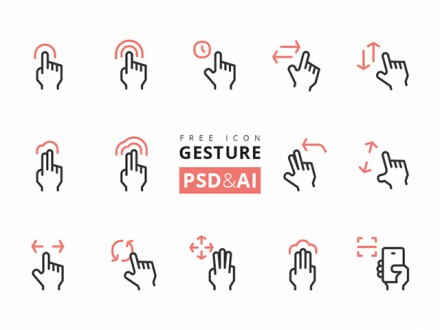 15 Gesture icons - PSD + Ai