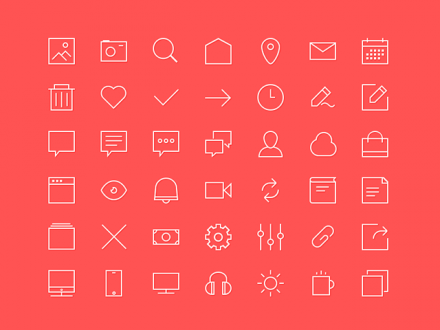 42 free outline icons - Free PSD