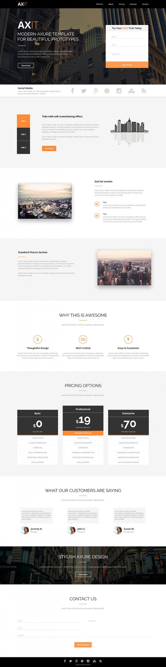 Axit - Free PSD Landing page - Detailed image