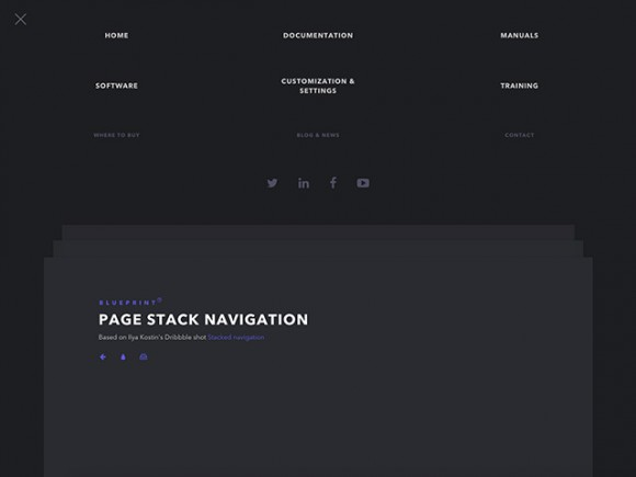 Page stack navigation template