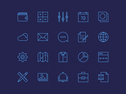 20 simple line icons PSD