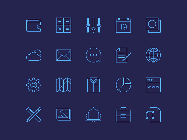 20 simple line icons