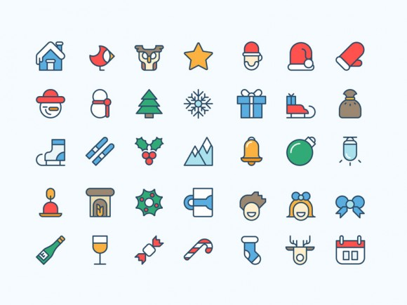 36 free Coloured Christmas icons for Illustrator