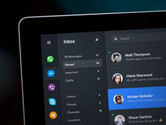 Chat dashboard - PSD app concept